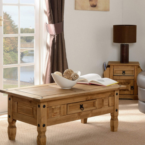 Solid Pine Coffee Table With Black Handles - Seconiq...