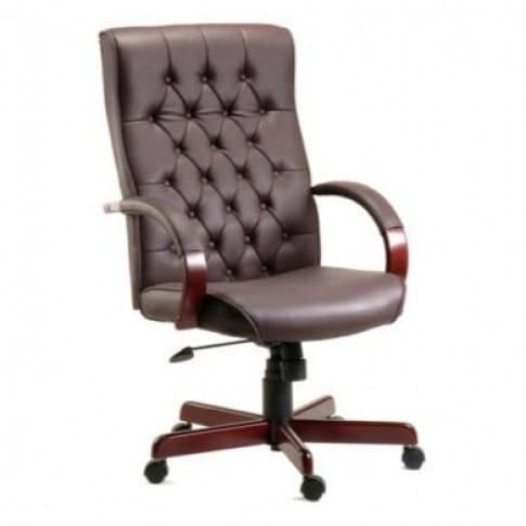 Dark Red Leather Tufted Office Chair - Teknik Office...