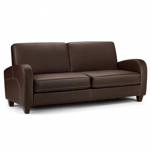 Vivo Brown Faux Leather Sofa Seats 3 - Julian Bowen ...