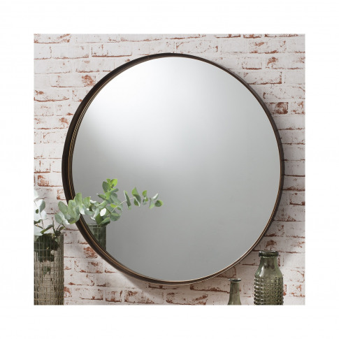 Round Wall Mirror With Bronze Frame - Caspian House
