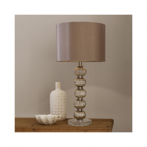 Gold Table Lamp With Bauble Base & Satin Shade - Adr...