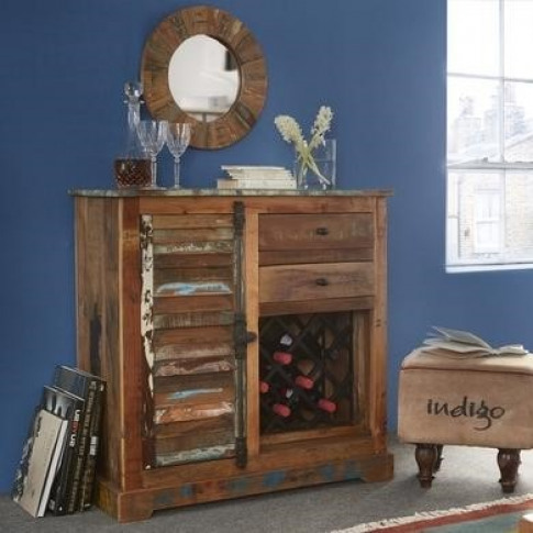 Coastal Reclaimed Wood Drinks Cabinet with Wine Rack...