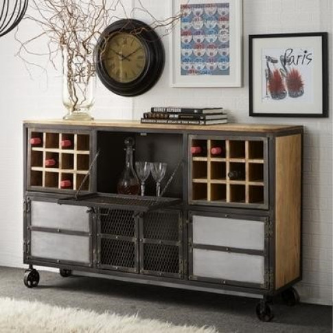 Evoke Metal & Wood Wine Rack Sideboard - Industrial