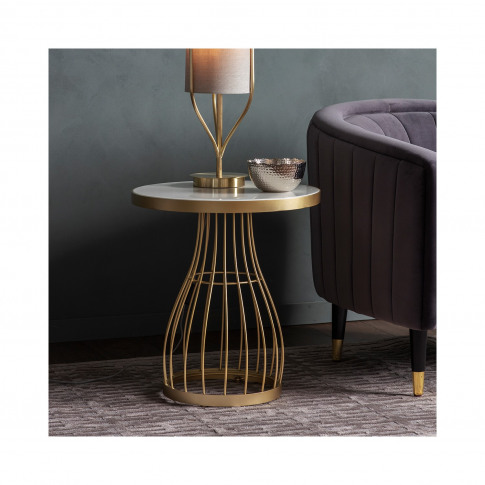 Gold Side Table With White Marble Top - Caspian House