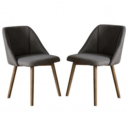 Pair Of Elliot Dining Chairs Slate Greylinen - Caspian House