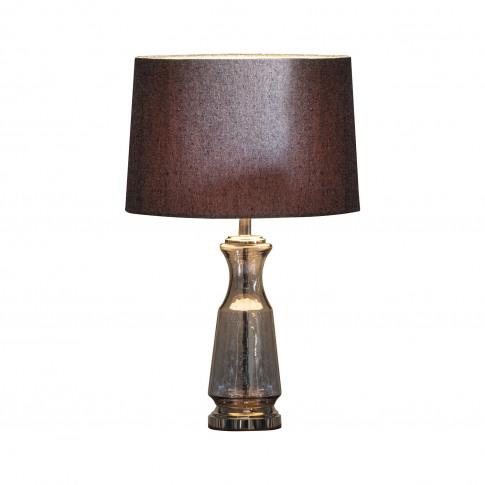 Table Lamp With Grey Shade & Grey Glass Base - Lastrea