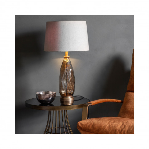 Table Lamp With Linen Shade & Brown Glass Base - Sib...