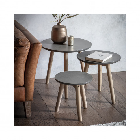 Round Grey Nest Of Tables With Wooden Legs - Caspian...