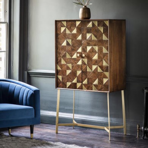 Gallery Drinks Cabinet in Brown with Brass Finish - ...