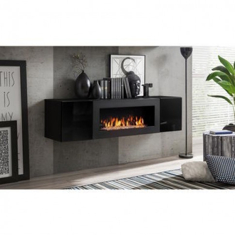 Floating Tv Unit With Bioethanol Fireplace In Black ...