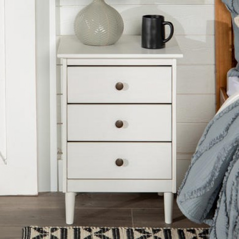 White Bedside Table In Solid Pine With 3 Drawers - F...
