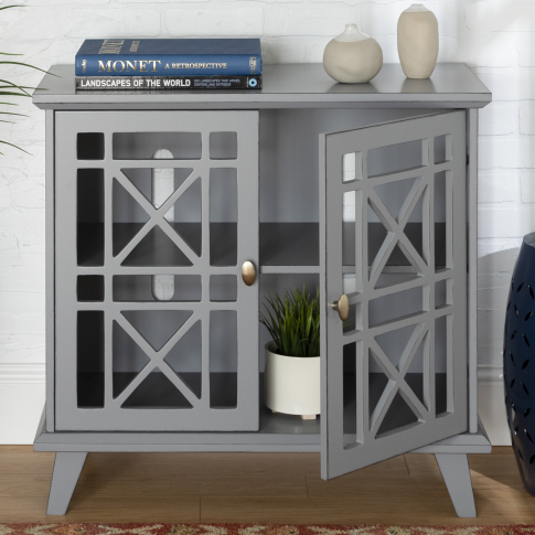Grey Solid Wood Sideboard With Double Doors - Foster