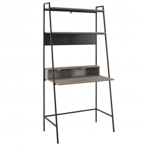 Foster Grey Wooden Ladder Desk With Shelves