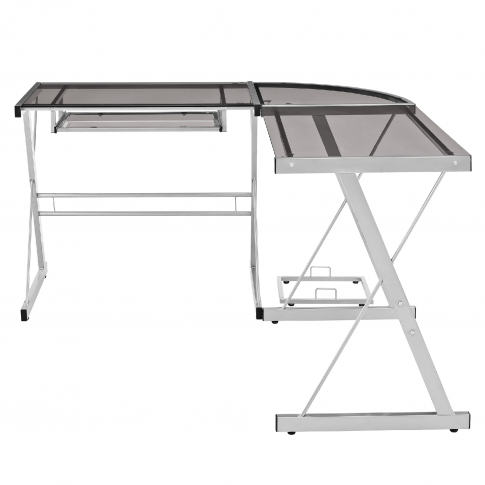 Foster Grey Office Corner Desk With Tempered Glass T...