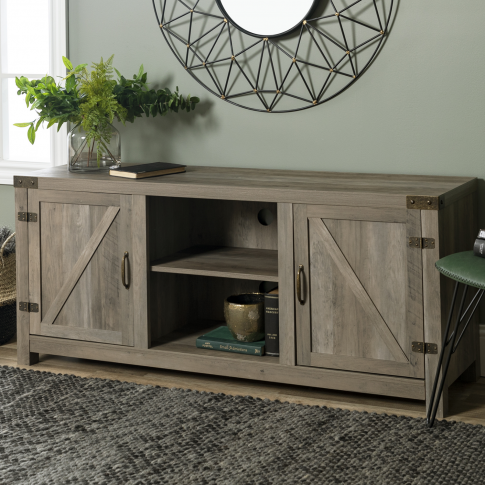 Foster Grey Wood Effect Tv Unit With Open Shelves & ...