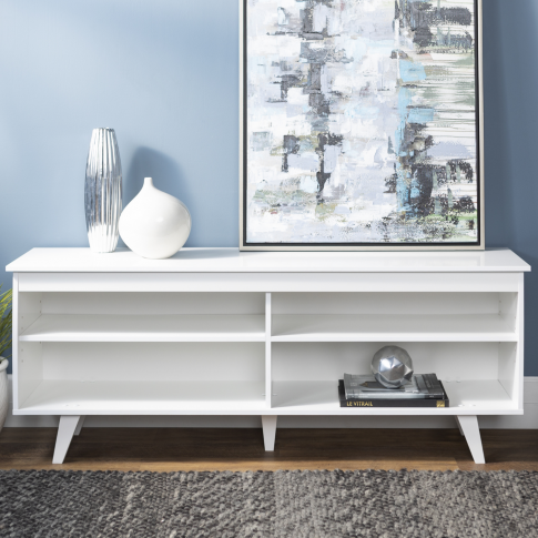 White Wooden Tv Unit With Storage - Foster - Tv's Up...