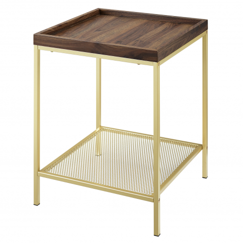 Foster Wood Effect Square Side Table With Gold Mesh ...