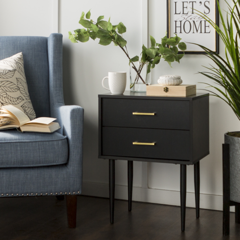 Foster Black Wooden Side Table With 2 Drawers