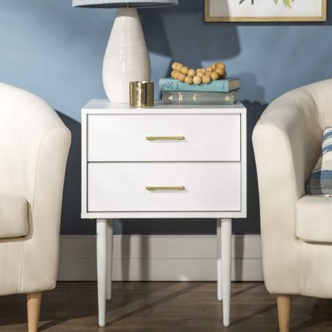Foster White Wooden Side Table With 2 Drawers