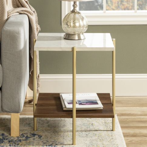 Foster Gold Faux Marble Square Side Table With Woode...