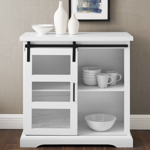White Wood Effect Sideboard With Storage - Foster