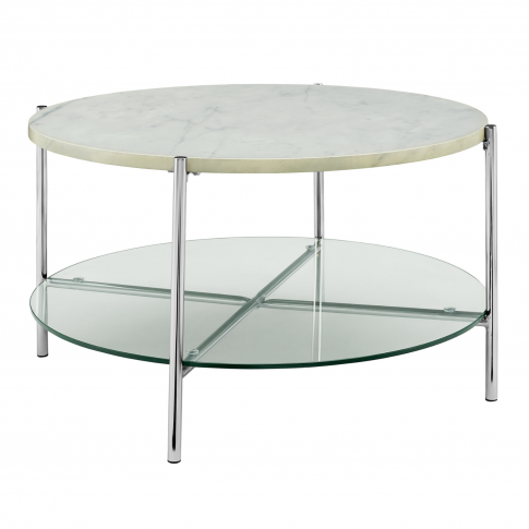 Round White Coffee Table In Faux Marble With Glass S...
