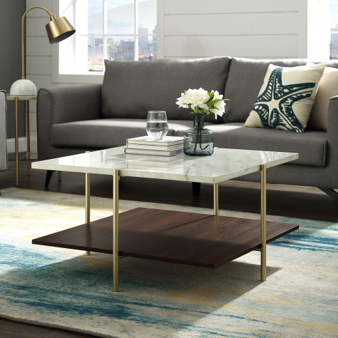 White Marble Square Coffee Table With Gold Legs - Fo...