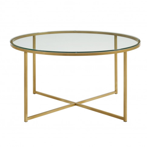 Gold Coffee Table With Glass Top - Foster