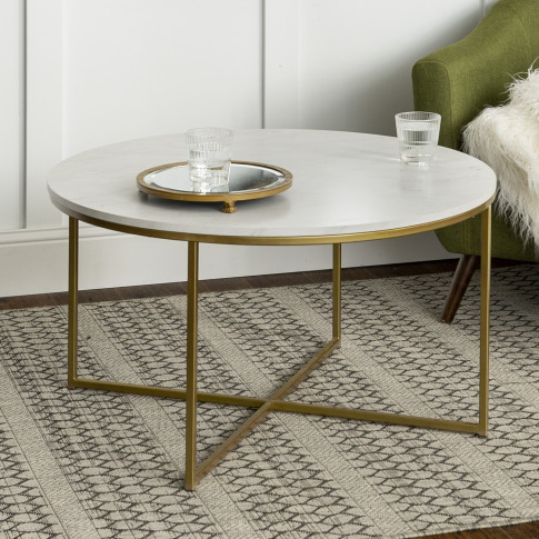 Foster White Faux Marble Coffee Table With Gold Base