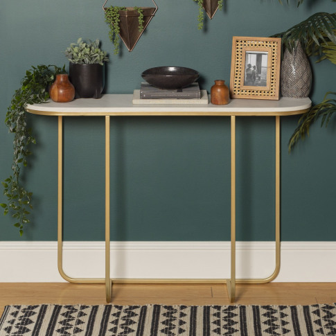 Foster White Marble Console Table With Gold Base
