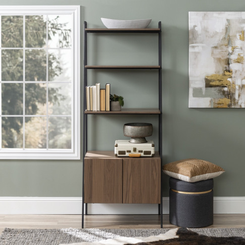 Foster Brown Wood Effect Bookcase With Lower Cupboard