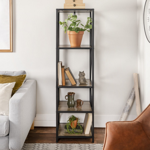 Light Wood Effect Bookcase With Metal Frame - Foster