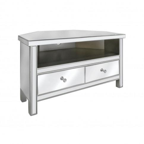 Mirrorred Corner Tv Unit With Storage - Aurora Bouti...