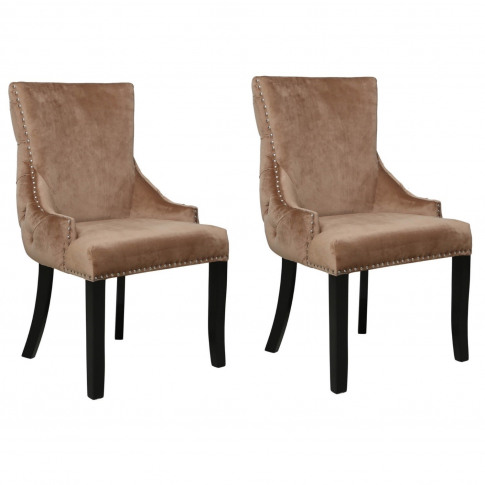 Set Of 2 Brown Velvet Dining Chairs With Black Legs ...
