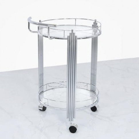 Aurora Boutique Mirrored Drinks Trolley with Clear G...