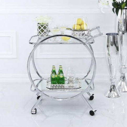 Aurora Boutique Drinks Trolley in Chrome and  Clear ...