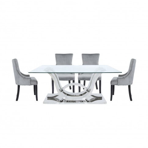 Glass Dining Table & 6 Grey Velvet Chairs - Aurora B...