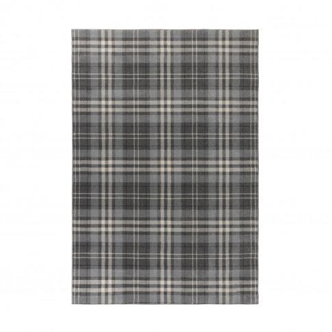Silver & Grey Tartan Rug 120x170cm - Flair Kilbirnie