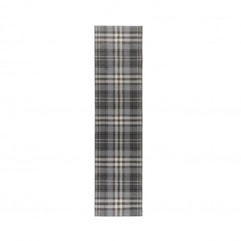Silver & Grey Check Hallway Runner Rug 60x230cm - Fl...