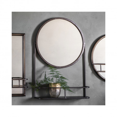 Round Mirror With Shelf - Caspian House