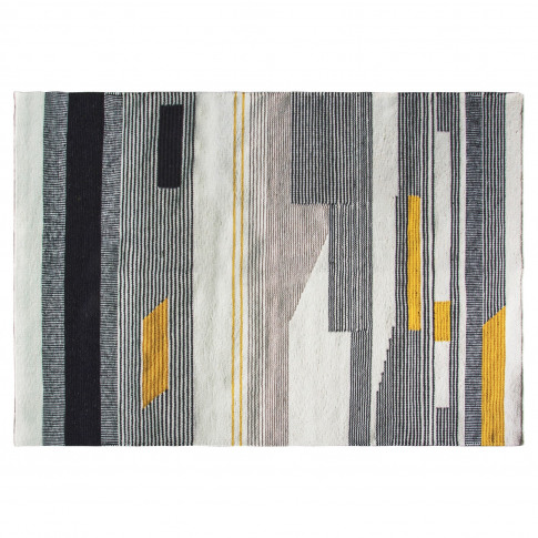 Caspian House Hand Crafted Grey & Yellow Patterned R...