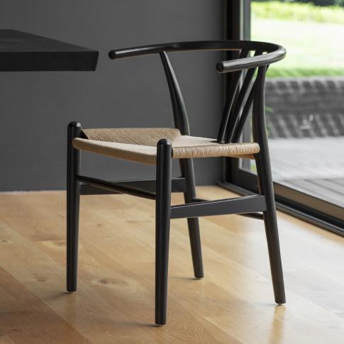Pair Of Black Wishbone Dining Chairs - Caspian House