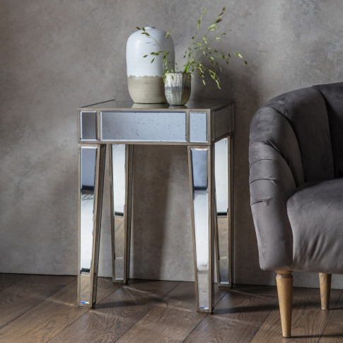 Vintage Mirrored Side Table - Caspian House