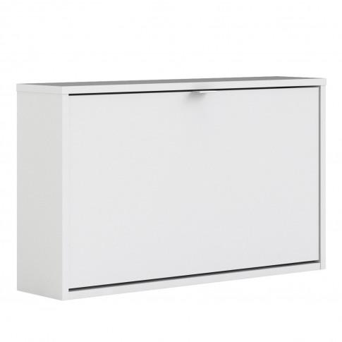 Slim White Shoe Cabinet - Wall Hung
