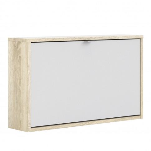 White Slim Shoe Cabinet With Oak Coloured Finish - W...
