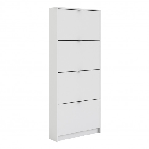 Slim Wall Hung Shoe Storage With 4 Drawers In White