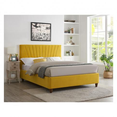 Lexie Double Bed In Mustard Yellow Velvet