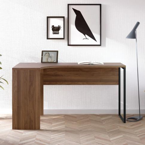 Corner Desk With Dark Wood Top & 2 Drawers - Function
