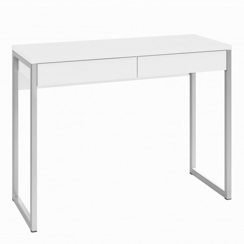 Office Desk In White High Gloss & 2 Drawers - Function