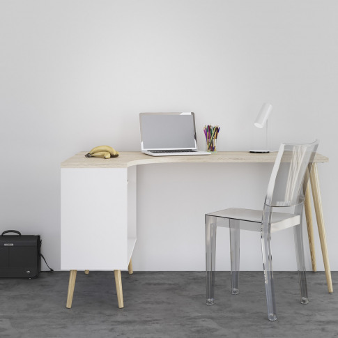 Corner Desk In White & Oak With 2 Drawers - Function